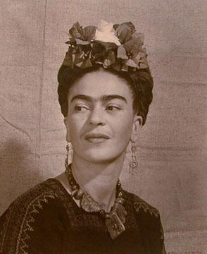 Frida with flowers